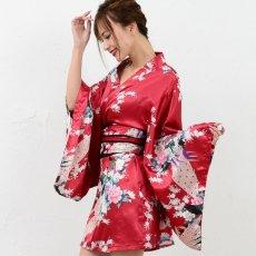 画像4: サテン和柄豪華花魁ミニ着物ドレス 和柄 よさこい 花魁 コスプレ キャバドレス (4)