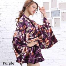 画像6: サテン花柄フリル花魁ミニ着物ドレス 和柄 よさこい 花魁 コスプレ キャバドレス (6)