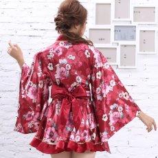 画像9: サテン花柄フリル花魁ミニ着物ドレス 和柄 よさこい 花魁 コスプレ キャバドレス (9)