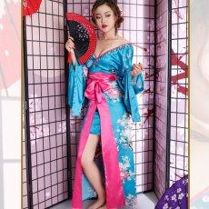 画像10: 【新色追加&再入荷】サテン花車リボンロング着物ドレス コスチューム コスプレキャバドレス 花魁 (10)