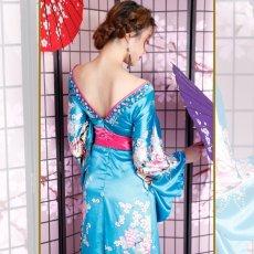 画像11: 【新色追加&再入荷】サテン花車リボンロング着物ドレス コスチューム コスプレキャバドレス 花魁 (11)