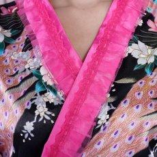 画像15: サテン和柄フリル花魁ミニ着物ドレス 和柄 よさこい 花魁 コスプレ キャバドレス (15)