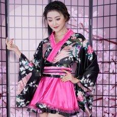 画像12: サテン和柄フリル花魁ミニ着物ドレス 和柄 よさこい 花魁 コスプレ キャバドレス (12)