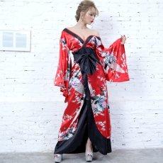 画像8: 孔雀和柄ロング着物ドレス 和柄 よさこい 花魁 コスプレ キャバドレス (8)