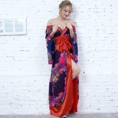 画像14: フラワープリントリボン付きロング着物ドレス 和柄 よさこい 花魁 コスプレ キャバドレス (14)