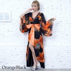 画像10: フラワープリントリボン付きロング着物ドレス 和柄 よさこい 花魁 コスプレ キャバドレス (10)