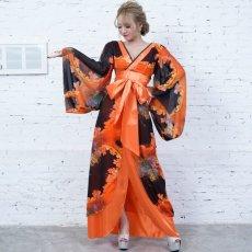 画像9: フラワープリントリボン付きロング着物ドレス 和柄 よさこい 花魁 コスプレ キャバドレス (9)