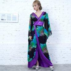 画像7: フラワープリントリボン付きロング着物ドレス 和柄 よさこい 花魁 コスプレ キャバドレス (7)