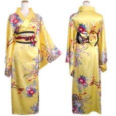 画像15: 帯付き花魁和柄サテン着物ロングドレス キャバドレス コスプレ (15)