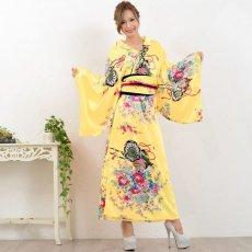 画像14: 帯付き花魁和柄サテン着物ロングドレス キャバドレス コスプレ (14)