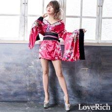 画像2: 和柄ミニ着物ドレス 和柄 衣装 ダンス よさこい 花魁 コスプレ キャバドレス (2)