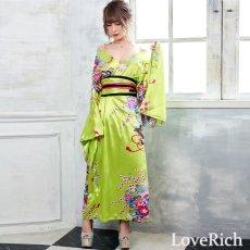 画像2: 帯付き花魁和柄サテン着物ロングドレス キャバドレス コスプレ (2)