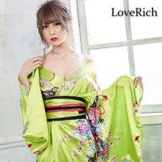 画像3: 帯付き花魁和柄サテン着物ロングドレス キャバドレス コスプレ (3)