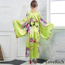 画像4: 帯付き花魁和柄サテン着物ロングドレス キャバドレス コスプレ (4)