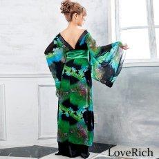 画像4: フラワープリントリボン付きロング着物ドレス 和柄 よさこい 花魁 コスプレ キャバドレス (4)