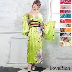 画像1: 帯付き花魁和柄サテン着物ロングドレス キャバドレス コスプレ (1)