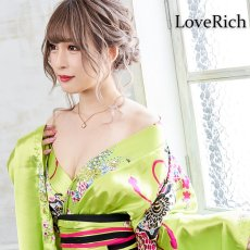 画像5: 帯付き花魁和柄サテン着物ロングドレス キャバドレス コスプレ (5)