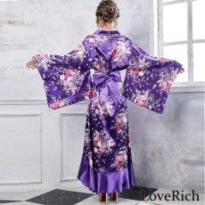 画像4: 帯付きゴールドパイピングフリル花魁着物ロングドレス コスチューム コスプレ キャバドレス (4)