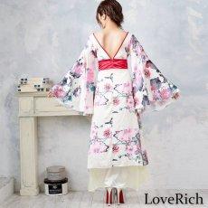 画像14: フラワーロング着物ドレス 和柄 よさこい 花魁 コスプレ キャバドレス (14)