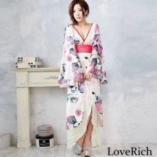 画像8: フラワーロング着物ドレス 和柄 よさこい 花魁 コスプレ キャバドレス (8)