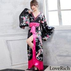 画像2: 豪華ビジュー花魁ロング着物ドレス 和柄 衣装 ダンス よさこい 花魁 コスプレ キャバドレス (2)