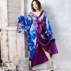 画像5: 孔雀和柄ロング着物ドレス 和柄 よさこい 花魁 コスプレ キャバドレス (5)