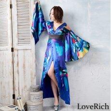 画像9: グラデーションロング着物ドレス 和柄 よさこい 花魁 コスプレ キャバドレス (9)