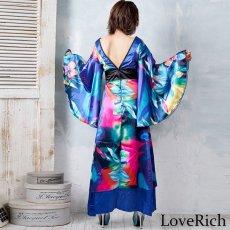画像16: グラデーションロング着物ドレス 和柄 よさこい 花魁 コスプレ キャバドレス (16)