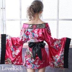画像5: 和柄ミニ着物ドレス 和柄 衣装 ダンス よさこい 花魁 コスプレ キャバドレス (5)