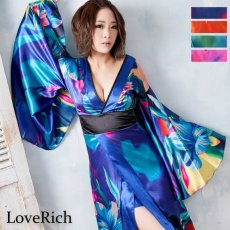 画像8: グラデーションロング着物ドレス 和柄 よさこい 花魁 コスプレ キャバドレス (8)