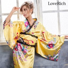 画像4: 【新色追加】レースフリルリボン付きサテン花魁着物ドレス コスチューム コスプレ キャバドレス (4)