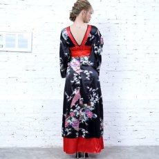 画像12: 孔雀和柄ロング着物ドレス 和柄 よさこい 花魁 コスプレ キャバドレス (12)