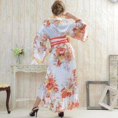 画像6: 花魁風帯付き総和柄サテン裾フリルロングドレス (6)