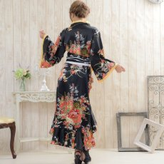 画像3: 花魁風帯付き総和柄サテン裾フリルロングドレス (3)