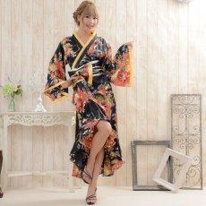 画像2: 花魁風帯付き総和柄サテン裾フリルロングドレス (2)