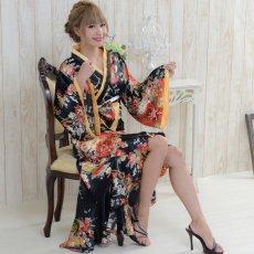 画像4: 花魁風帯付き総和柄サテン裾フリルロングドレス (4)