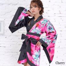 画像16: ツートンカラー花柄着物ドレス 和柄 衣装 ダンス よさこい 花魁 コスプレ キャバドレス (16)