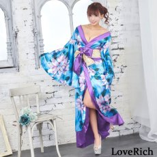 画像11: サテン花柄ロング着物ドレス 衣装 ダンス よさこい 花魁 コスプレ キャバドレス (11)