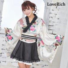 画像10: サテン和柄フリル花魁ミニ着物ドレス 和柄 よさこい 花魁 コスプレ キャバドレス (10)