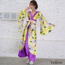画像12: サテン花柄ロング着物ドレス 衣装 ダンス よさこい 花魁 コスプレ キャバドレス (12)
