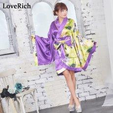 画像8: ツートンカラー花柄着物ドレス 和柄 衣装 ダンス よさこい 花魁 コスプレ キャバドレス (8)