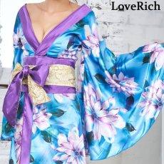 画像16: サテン花柄ロング着物ドレス 衣装 ダンス よさこい 花魁 コスプレ キャバドレス (16)