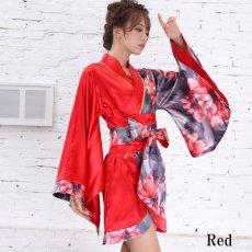 画像14: ツートンカラー花柄着物ドレス 和柄 衣装 ダンス よさこい 花魁 コスプレ キャバドレス (14)
