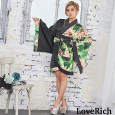 画像4: ツートンカラー花柄着物ドレス 和柄 衣装 ダンス よさこい 花魁 コスプレ キャバドレス (4)