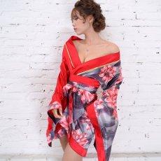 画像15: ツートンカラー花柄着物ドレス 和柄 衣装 ダンス よさこい 花魁 コスプレ キャバドレス (15)