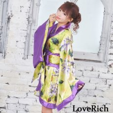 画像10: ツートンカラー花柄着物ドレス 和柄 衣装 ダンス よさこい 花魁 コスプレ キャバドレス (10)