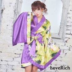 画像7: ツートンカラー花柄着物ドレス 和柄 衣装 ダンス よさこい 花魁 コスプレ キャバドレス (7)