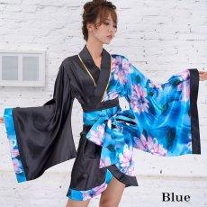 画像12: ツートンカラー花柄着物ドレス 和柄 衣装 ダンス よさこい 花魁 コスプレ キャバドレス (12)
