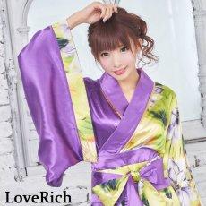 画像9: ツートンカラー花柄着物ドレス 和柄 衣装 ダンス よさこい 花魁 コスプレ キャバドレス (9)