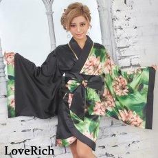 画像3: ツートンカラー花柄着物ドレス 和柄 衣装 ダンス よさこい 花魁 コスプレ キャバドレス (3)